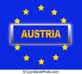 Austria. - The word Austria and flag of Europe .