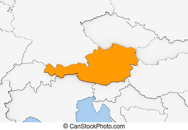 Austria - 3d render of abstract map of Austria highlighted...