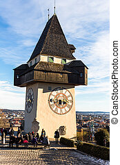 austria, styria, graz clock tower