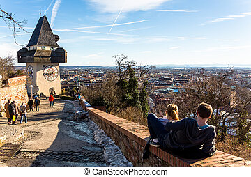 austria, styria, graz, clock tower