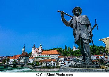 Austria, upper austria, steyr - the old town of steyr in...