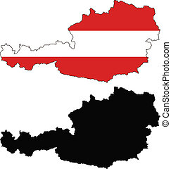 vector map and flag of Austria with white background.