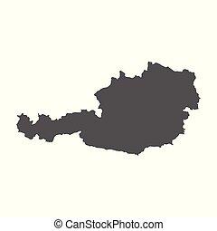 Austria vector map. Black icon on white background.