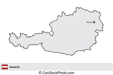 Austria vector map with the capital city of Wien