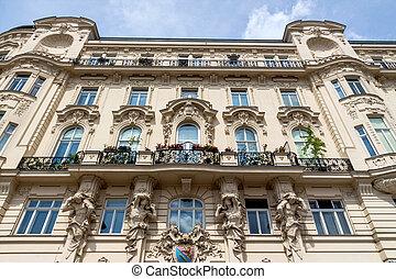 austria, vienna, art nouveau houses at the naschmarkt -...