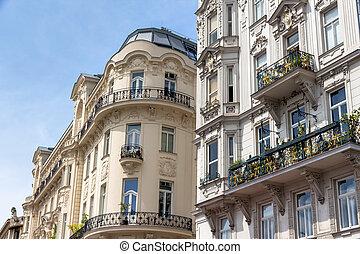 austria, vienna, art nouveau houses at the naschmarkt - ...