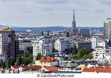 austria, vienna. skyline seen from an ferris wheel.