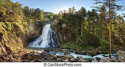 Austria waterfall panorama in Alps, Golling