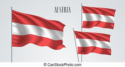 Austria waving flag set of vector illustration