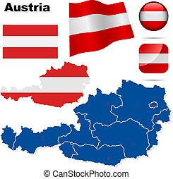 austria, wektor, set.