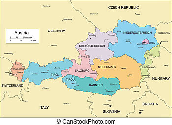 Austria, editable vector map broken down by administrative districts includes surrounding countries, in color with cities, district names and capitals, all objects editable. Great for building sales and marketing territory maps, illustrations, web graphics and graphic design. Includes sections of ...