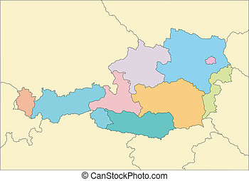 Austria, editable vector map broken down by administrative districts includes surrounding countries, in color, all objects editable. Great for building sales and marketing territory maps, illustrations, web graphics and graphic design. Includes sections of surrounding countries, Germany, Slovakia, ...