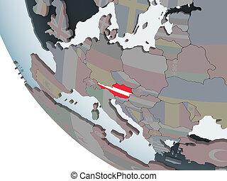 Austria with flag on globe