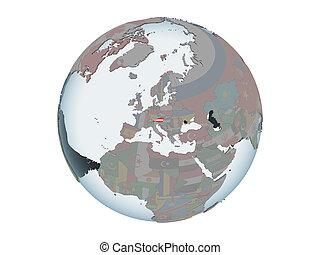 Austria with flag on globe isolated