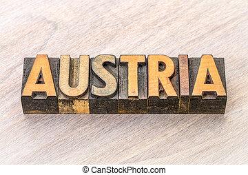Austria word in vintage wood type
