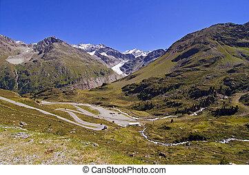 Austrian alps in Kaunertal area in Tirol, Gepatschferner glacier in background in Oetztaler alpen and Gletscherstrasse road