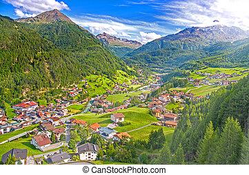 Austrian alps mountain resort Soelden, summer landscape