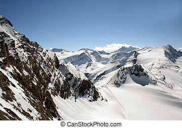 A general view of the Austrian Alps Mountains. Here in the Schmittenhohe Mountain.