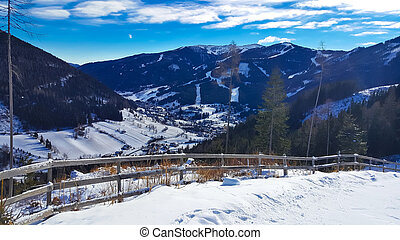 Austrian alps scenery in Carinthia, panoramic view