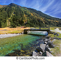 Crystal clear water - Austrian Alps. Starting famous Krimml...