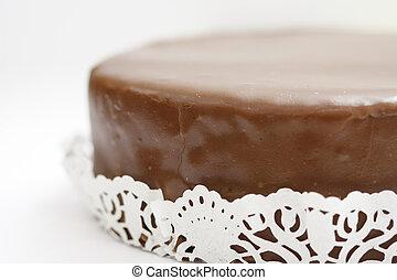 "Austrian Cake ""Sacher Torte"" on a white background."