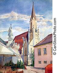 Austrian city of Melk landscape painted by watercolor