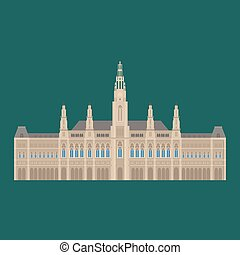Austrian City sights in Vienna. Austria Landmark Travel And Journey Architecture Elements Town hall