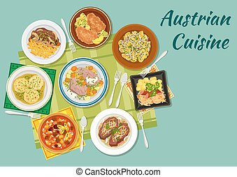 Austrian cuisine flat icon with meat dishes - Austrian...