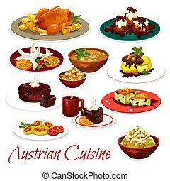 Austrian cuisine meat dishes and chocolate cakes - Austrian...
