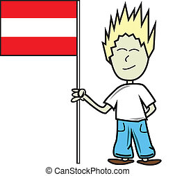 Austrian flag - Proud young male holding the austrian flag