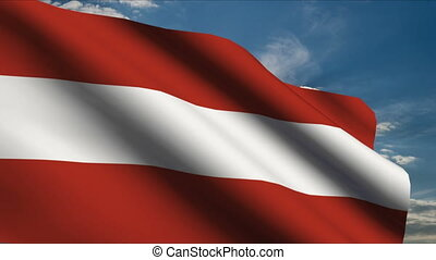 Austrian Flag waving in wind with clouds in background