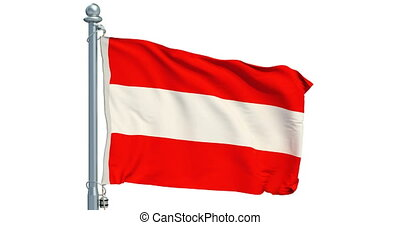 Austrian flag waving on white background, animation. 3D rendering