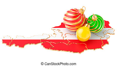 Austrian map with colored Christmas balls. New Year and Christmas holidays concept, 3D rendering