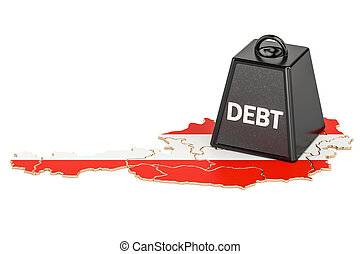 Austrian national debt or budget deficit, financial crisis concept, 3D rendering