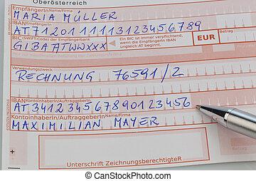 austrian remittance slip - a payment slip for bank transfer ...