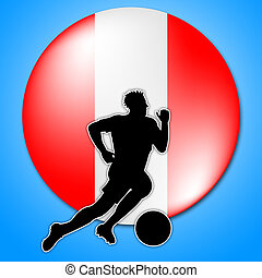 Austrian Soccer Meaning Waving Flag And Scoring