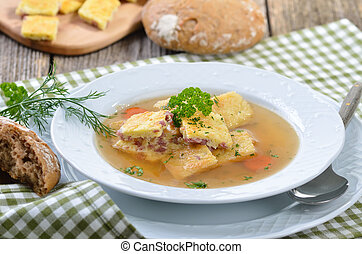 Austrian soup - Austrian clear broth with salted sponge...