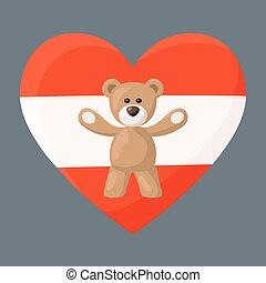 Austrian Teddy Bears - Teddy Bears with heart with flag of ...