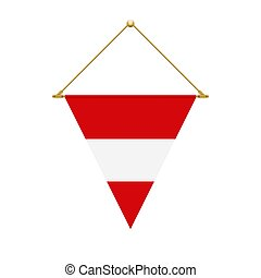 Austrian triangle flag hanging, vector illustration