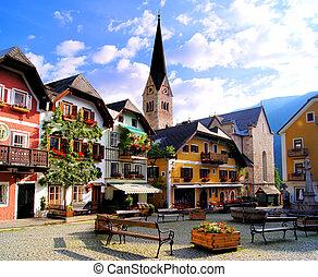 Austrian village - Quaint square in the Austrian village of...
