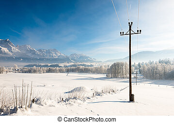 Austrian Winter Wonderland with mountains, fresh snow and ...
