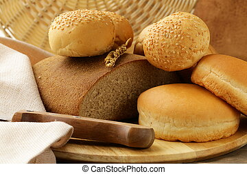 auswahl, bread, auf, a, holzbrett