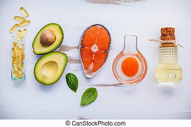 auswahl, lebensmittel, quellen, von, omega 3