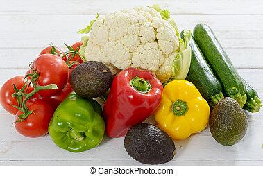 auswahl, von, frische gemüse