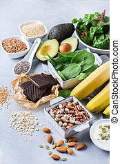 auswahl, von, gesunde, hoch, magnesium, quellen, lebensmittel