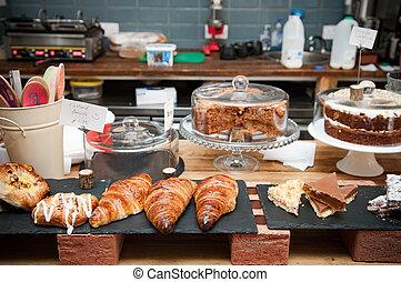 auswahl, von, kuchen, und, café, inneneinrichtung