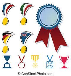 auszeichnungen, in, der, form, von, medaillen, und, cups., a, vektor, abbildung