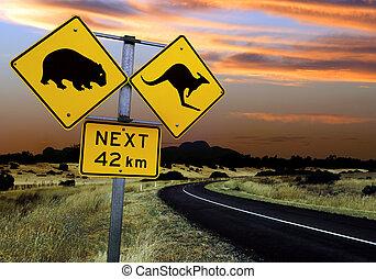 ausztrál, út cégtábla