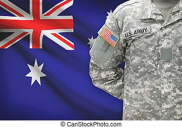 ausztrália, -, amerikai, katona, lobogó, háttér