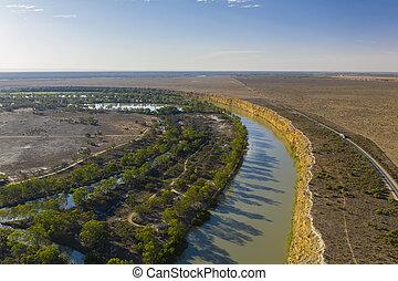ausztrália, antenna, murray, folyó, déli, kilátás
